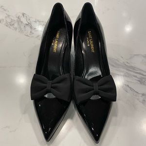 Saint Laurent Black Patent Bow Heels